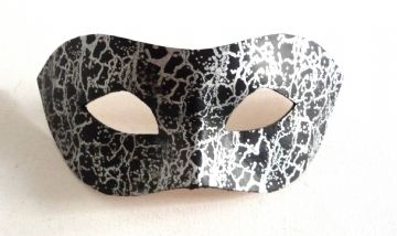 Genuine Handmade Unique Embellished Black & Silver Leather Mask (a